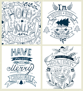 vector set of hand drawn  Christmas cards with vintage letteringのイラスト素材 [FYI03085239]