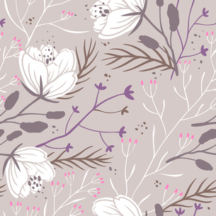 vector floral seamless pattern with white poppies on a beige backgroundのイラスト素材 [FYI03085246]