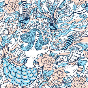 vector seamless pattern with beautiful mermaidsのイラスト素材 [FYI03085261]