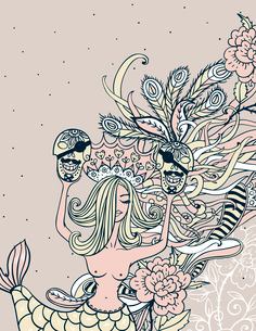 vector abstract background with a beautiful mermaid and pirates skullsのイラスト素材 [FYI03085273]