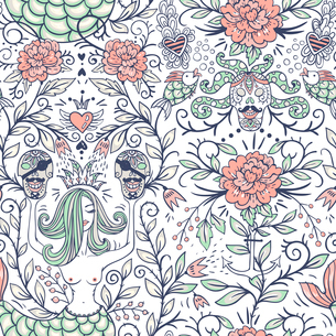 vector floral seamless pattern with vintage roses, pirate skulls and beautiful mermaidsのイラスト素材 [FYI03085316]
