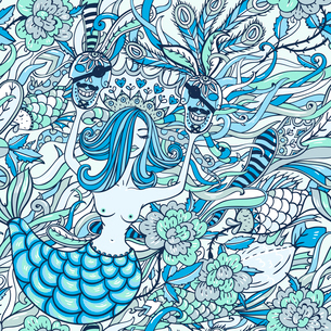 vector seamless pattern with a beautiful mermaidのイラスト素材 [FYI03085318]