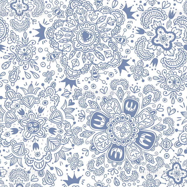 vector  seamless pattern with abstract floral elementsのイラスト素材 [FYI03085336]