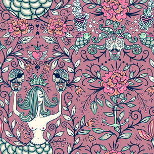 vector vintage seamless pattern with beautiful mermaids and pirate skullsのイラスト素材 [FYI03085404]