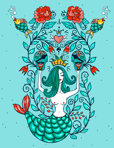 vector illustration of a beautiful mermaid, pirates skulls and vintage rosesのイラスト素材 [FYI03085420]