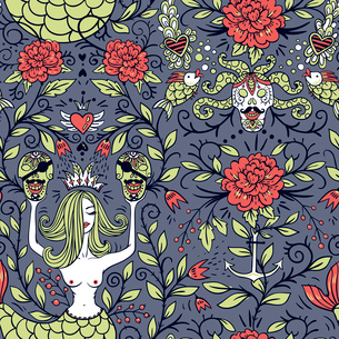 vector seamless pattern with beautiful mermaids, pirates skulls and blooming rosesのイラスト素材 [FYI03085424]