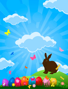 Easter rabbit. Easter rabbit on the nature. A vector illustrationのイラスト素材 [FYI03085459]