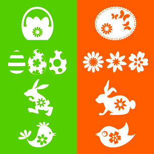 Set of easter icons. A vector illustrationのイラスト素材 [FYI03085460]