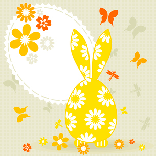 Easter card with a hare. A vector illustrationのイラスト素材 [FYI03085462]
