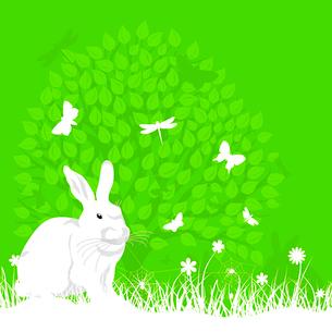 Easter rabbit on the nature. A vector illustrationのイラスト素材 [FYI03085464]