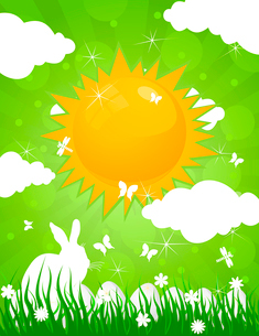 Easter rabbit on the nature. A vector illustrationのイラスト素材 [FYI03085465]
