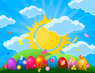 Easter. Easter eggs lay in a grass on the nature. A vector illustrationのイラスト素材 [FYI03085466]
