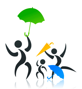 Family with an umbrella. Family with the child under an umbrella. A vector illustrationのイラスト素材 [FYI03085512]