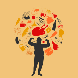 Harmful products of food round the fat man. A vector illustrationのイラスト素材 [FYI03085526]