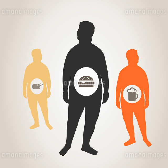 The thick person eats fat food. A vector illustrationのイラスト素材 [FYI03085527]