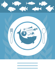 Fish menu. Fish on a plate with vegetables. A vector illustrationのイラスト素材 [FYI03085540]