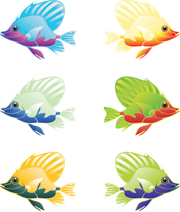Fish2. The beautiful fishes of five colours are floating.のイラスト素材 [FYI03085546]