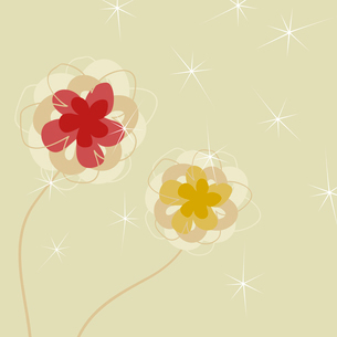 Flower a background3. Two flowers on a beige background. A vector illustrationのイラスト素材 [FYI03085579]