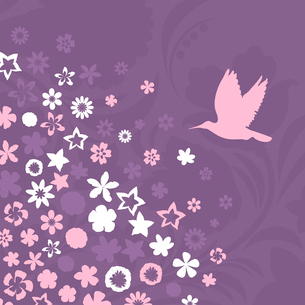 Flower a background5. The bird flies up to pink flowers. A vector illustrationのイラスト素材 [FYI03085580]