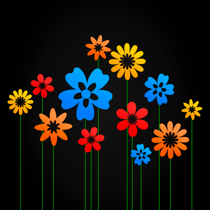 Flower a background8. Flowers grow on a black background. A vector illustrationのイラスト素材 [FYI03085583]