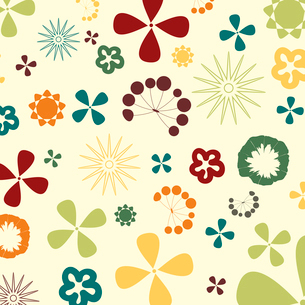 Flower structure2. Two flowers on a beige background. A vector illustrationのイラスト素材 [FYI03085597]