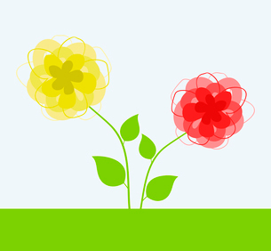 Yellow and red flower. A vector illustrationのイラスト素材 [FYI03085602]