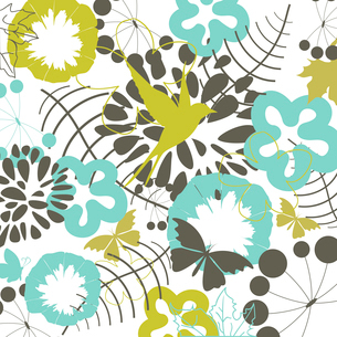 Two flowers on a beige background. A vector illustrationのイラスト素材 [FYI03085604]