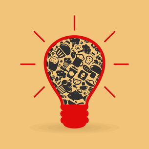 Bulb made of food subjects. A vector illustrationのイラスト素材 [FYI03085605]