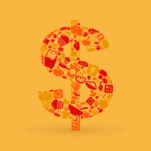 Dollar made of food subjects. A vector illustrationのイラスト素材 [FYI03085612]