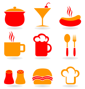 Set of icons on a theme food. A vector illustrationのイラスト素材 [FYI03085616]