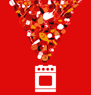 Food on a gas cooker. A vector illustrationのイラスト素材 [FYI03085617]