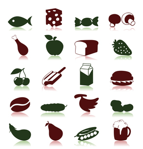 Food icon6. Collection of icons on a meal theme. A vector illustrationのイラスト素材 [FYI03085621]