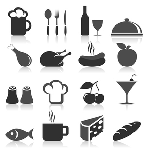 Set of icons on a theme food. A vector illustrationのイラスト素材 [FYI03085622]