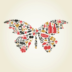 The butterfly made of food. A vector illustrationのイラスト素材 [FYI03085624]