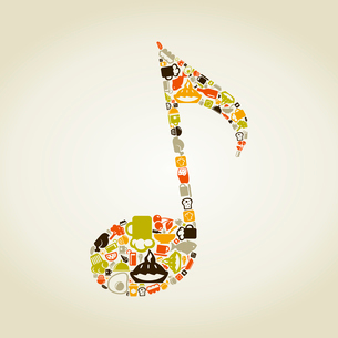 The musical note made of food. A vector illustrationのイラスト素材 [FYI03085627]