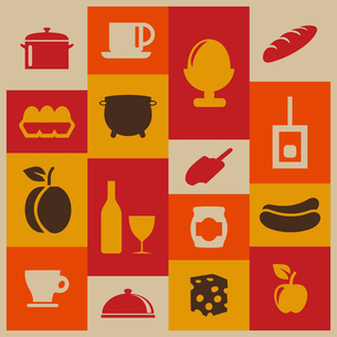 Set of icons of food. A vector illustrationのイラスト素材 [FYI03085628]