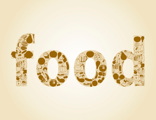 Food2. Inscription food made of a foodstuff. A vector illustrationのイラスト素材 [FYI03085629]