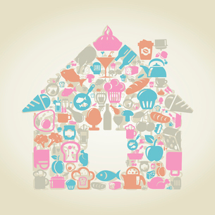 The house made of food. A vector illustrationのイラスト素材 [FYI03085630]