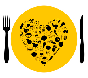 Food7. Heart on a plate from food. A vector illustrationのイラスト素材 [FYI03085634]
