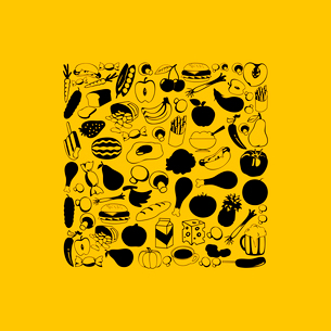 Food6. Food square on a yellow background. A vector illustrationのイラスト素材 [FYI03085635]