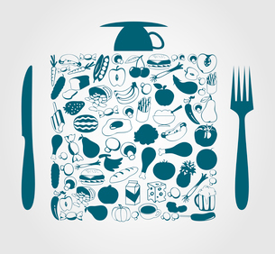 Food4. Foodstuff in a square a plug and a knife. A vector illustrationのイラスト素材 [FYI03085637]