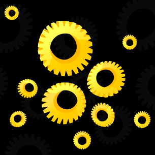 Gear wheel2. Gear wheels of gold colour on a black background. A vector illustrationのイラスト素材 [FYI03085680]
