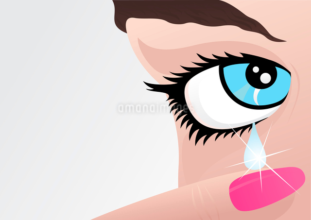 Girl cries. From an eye of the girl tear flows. A vector illustrationのイラスト素材 [FYI03085687]