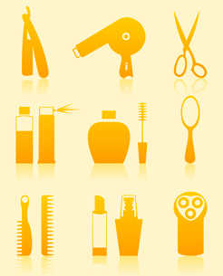 Hairdressing salon icons. Set of icons on a theme a hairdressing salon. A vector illustrationのイラスト素材 [FYI03085736]