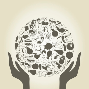 Hands hold a sphere from food. A vector illustrationのイラスト素材 [FYI03085774]