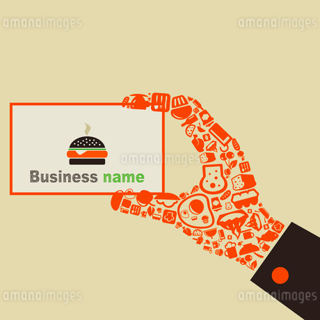 The hand from food holds business a card. Vector illustrationsのイラスト素材 [FYI03085775]