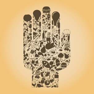 Hand from meal and food. A vector illustrationのイラスト素材 [FYI03085778]