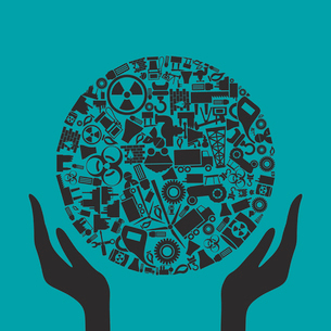 Hands hold a sphere from the industry. A vector illustrationのイラスト素材 [FYI03085798]