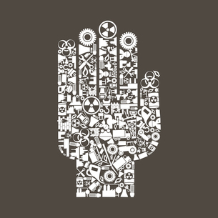 Hand from industry subjects. A vector illustrationのイラスト素材 [FYI03085799]