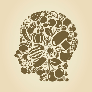 Head of the person made of food. A vector illustrationのイラスト素材 [FYI03085827]